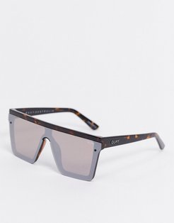 Hindsight visor sunglasses in brown tort with mirrored lens