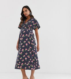 Maternity fluted sleeve midi dress in floral print-Multi