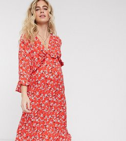 Maternity long sleeve shirred bust midi dress in red floral print-Multi