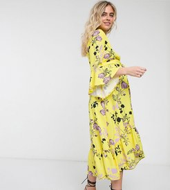 Maternity wrap front fluted sleeve midi dress in contrast floral-Multi