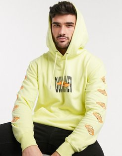 Either Way fleece hoodie in yellow