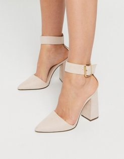 block heeled shoes in beige