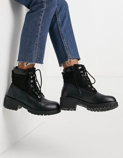 chunky hiker boots in black