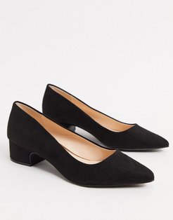 mid heel pointed shoes in black