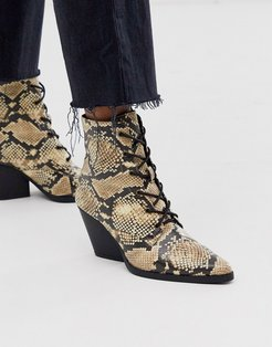 lace up western ankle boots-Multi