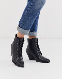 lace up western ankle boots-Black