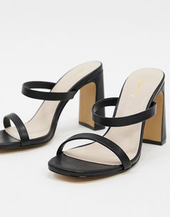 strappy heeled mules in black