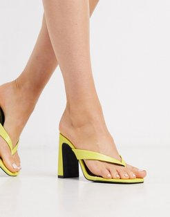 thong heeled mules in yellow