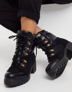 Acorn chunky hiker boots in black mix