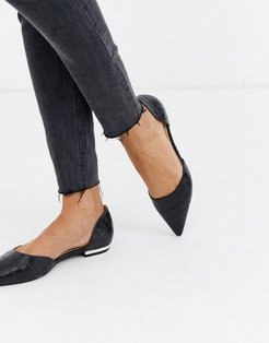 Amy two part flat shoes in black croc