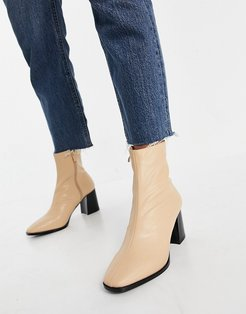 Freya heeled ankle boots in camel leather look-Beige