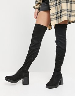 Joyen chunky over the knee boots in black