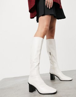 Lennyo knee high boots in white leather look