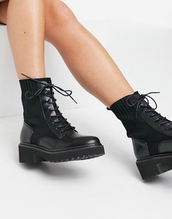 Raine boots with sock detail in black