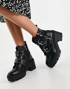 Saint chunky boots with buckle detail in black