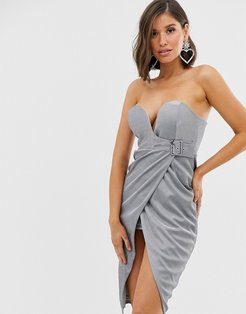 buckle wrap front midi dress in silver