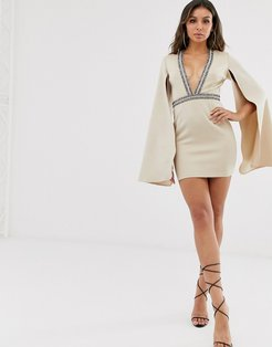 London embellished plunge front mini dress with cape detail in beige