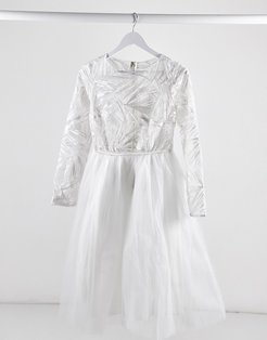 London lace top long sleeve tulle midi dress in white