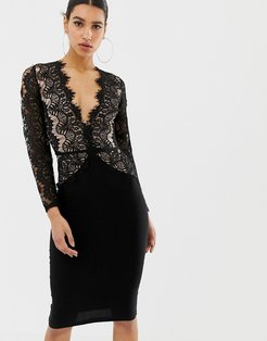 London limited edition long sleeve eyelash lace midi dress-Black