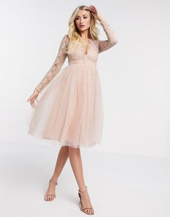 London long sleeve tulle midi dress-Pink