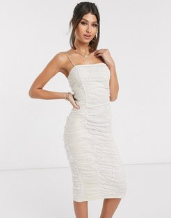 London metallic ruched midi dress in cream polka print