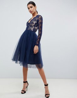 London midi prom dress with scalloped lace detail in navy