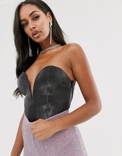 London plunge front body with lace up back detail in metallic gunmetal-Grey