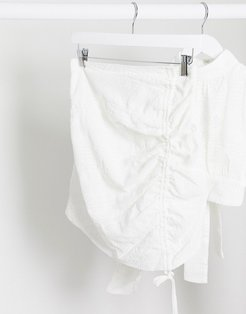 London ruched mini skirt two-piece in white