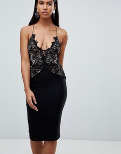 London scallop lace bodice midi dress-Black