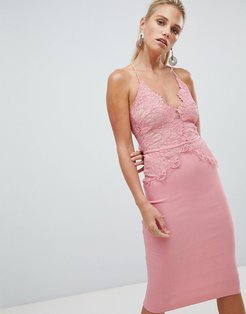London scallop place bodice midi dress-Pink