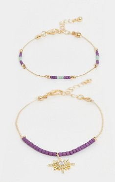 inspired 2 pack of beaded bracelets with star detail-Gold