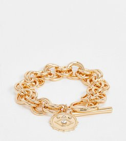 inspired chain bracelet with coin in gold