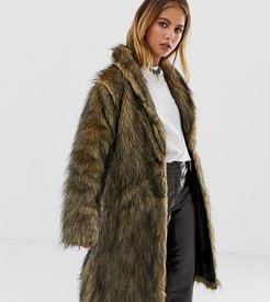 inspired fluffy faux fur coat-Brown
