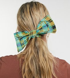 inspired hair bow in plaid-Multi