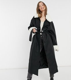 inspired leather-look coat with detachable faux fur collar-Pink