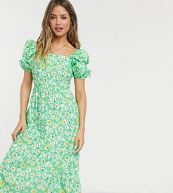inspired midi dress with back detail and puff sleeve in floral print-Multi
