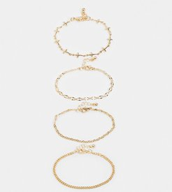 inspired mixed chain bracelet pack in gold