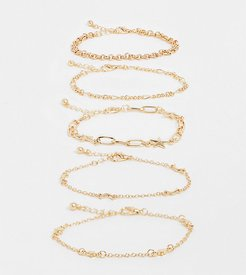 inspired mixed chain stars and moon bracelet pack in gold