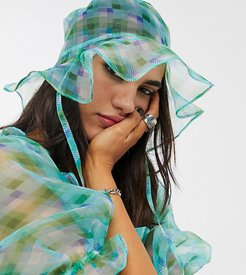 inspired organza bucket hat in check two-piece-Green