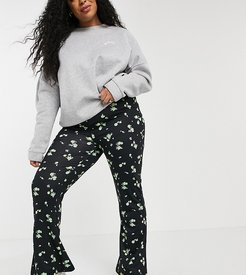 Inspired plus wide leg flare pants in ditsy floral print-Multi