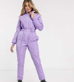 inspired quilted jumpsuit with drawcord waist-Purple