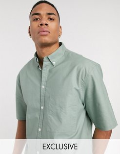 inspired short sleeve shirt in sage green-Tan