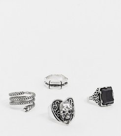inspired skull and faux black onyx ring pack in burnished silver