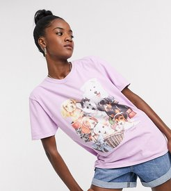 inspired t shirt with puppy print in lilac-Purple