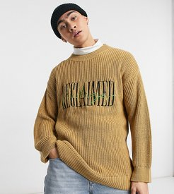 Inspired the knitted fisherman sweater with brand embroidery-Brown