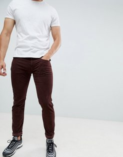 Anbass slim stretch corduroy jeans in burgundy-Red