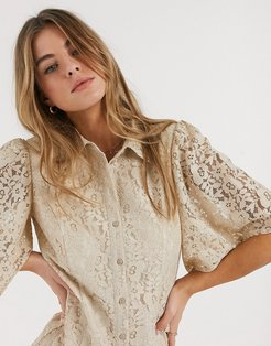 Resume trena lace shirt in sand-Brown