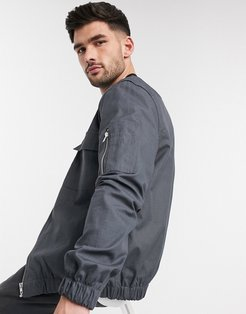 bomber with pockets in gray ripstop