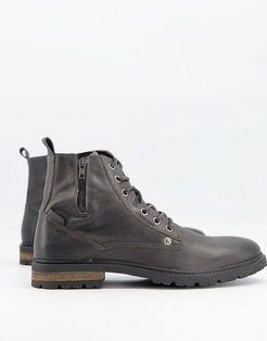 boots with zip in gray-Grey
