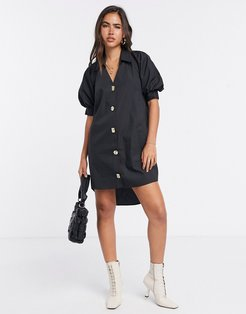 button front puff sleeve mini dress in black